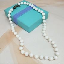 "Vintage LES BERNARD Milk Glass Bead Necklace Chic Jewelry White 18"" - $14.97"