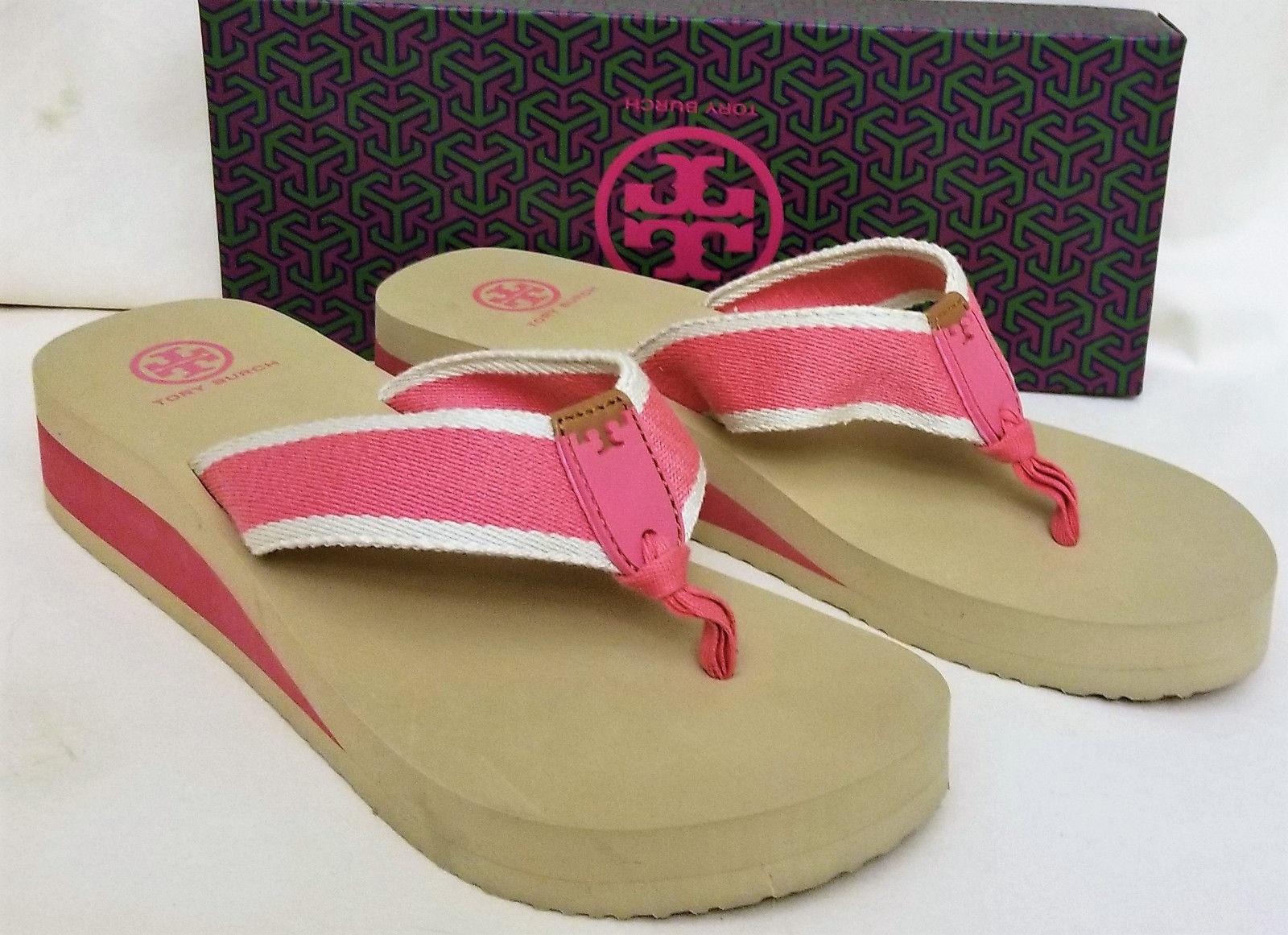 d27fc0545e8d ... top quality tori burch sandals flip flops sz10m pink fiesta ivory tory  burch accent b8287 be982