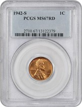 1942-S 1c PCGS MS67 RD - Lincoln Cent - $160.05