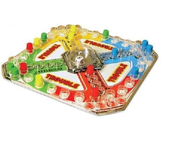 Classic Trouble Board Game, Pop-o-matic Die Roller Race To Finish 2 to 4 Players