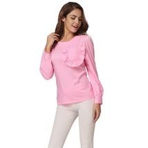 Women Ruffles Pocket Blouse Long Sleeve Puff O Neck Back Zipper Pink Shirt Tops  - $38.40