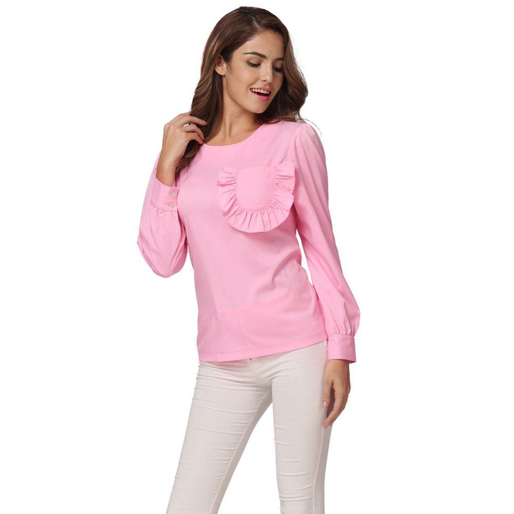 Women ruffles pocket blouse long sleeve puff o neck back zipper pink shirt tops fitted elegant