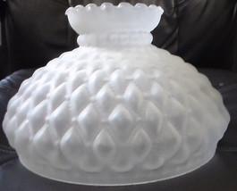 "10"" Satin Glass Diamond Quilted Quilt Oil Kerosene Lamp Shade fits Aladd... - $75.38"
