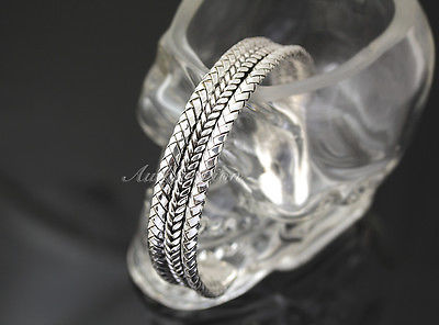 Mens Sterling Silver Bracelet Woven Braided Bangle Cuff Handcrafted Hip Hop b22 image 3