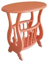 Magazine Table TRADE WINDS Oval Coral Painted Pink Mahogany - $439.00