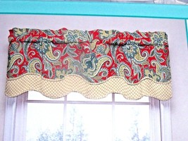 NEW WAVERLY Red RUSTIC RETREAT VALANCE Floral Layered Scallop Edge Gold ... - $19.30