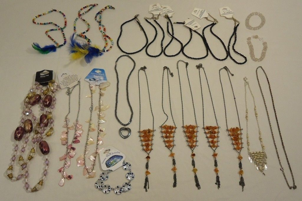 Necklaces Qty 23 Plastic Glass Base Metal Shell
