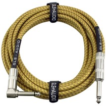 "Guitar Instrument Cable Tweed Jacket Right Angle 1/4"" TS to Straight 1/4... - $17.88"