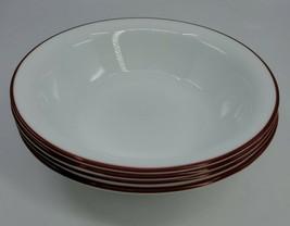 "Set 4 Corelle Vitrelle White/Red Stripe on Rim Soup/Cereal Bowl 7"" Round... - $29.99"