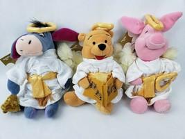 """Disney Store Pooh Piglet Eeyore 8"""" Plush Angels Choir Halo Wings Robes L... - $32.65"""