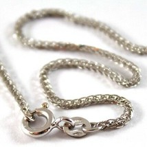 SOLID 18K WHITE GOLD CHAIN NECKLACE WITH EAR LINK 23.62 INCHES, MADE IN ITALY image 2