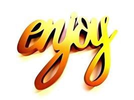 "ENJOY Cursive Font Word Sign Wooden Gold Color Hangers Heavy Thick 15"" Long - $16.85"