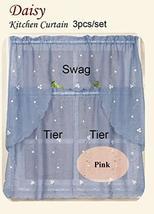 tkcreativelinenswholesale Pink Embroidery Daisy Kitchen Curtain Swag Tie... - $39.58