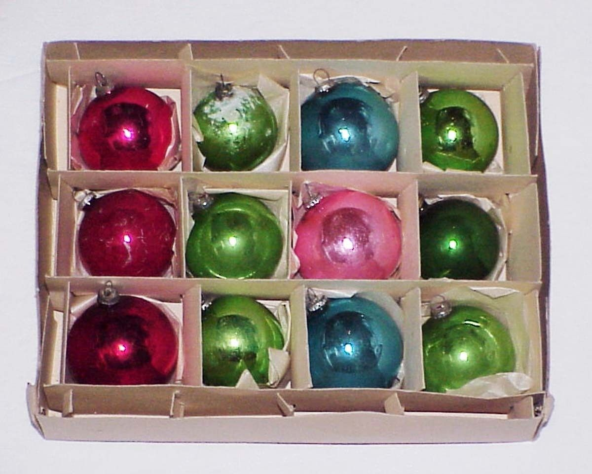 "Primary image for 12 Vintage Small Glass Christmass Ornaments 1.5"" to 2"""