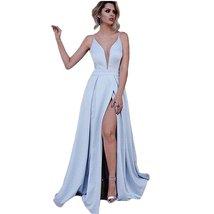 Women's Spaghetti Straps Deep V-Neck Long Prom Dress Light Blue Side Slit Dress - $98.88
