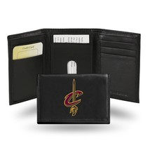 Cleveland Caveliers Wallet Embroidered Trifold Official NBA RICO Leather Black - $33.45