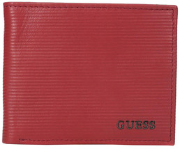 Guess Men's Premium Leather Credit Card ID Double Billfold Wallet Red 31GU130025