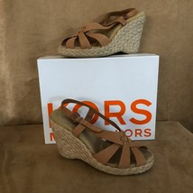 10M  Michael Kors wedge Womens Shoes luggage nubuck sandals heels raffia... - $38.12