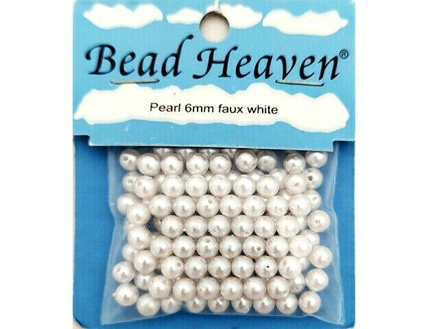 Bead Heaven Pearl 6mm Faux White Beads #77726