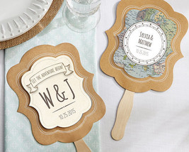 Personalized Travel Destination Hand Fan Bridal Wedding Favor Map Scroll... - $68.88+