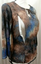 Breastfeeding Nursing Blouse Brown Blue Butterflies Zip To Feed Sz XL NEW - $12.34