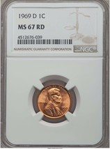 1969-D Lincoln Memorial Cent MS 67 RED NGC - $499.99