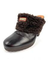 HUNTER 'Brunson' Leather Brown Sheepskin Lined Mule Heels Women's Size 9 - $49.49