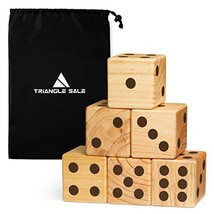 """Jumbo Wooden Yard Dice – Giant Outdoor Gaming Dice Set 3.5"""" with Luxurio... - €32,27 EUR"""