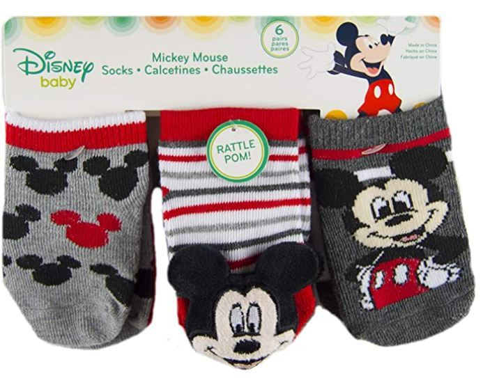 Mickey Mouse-Baby Boys Socks-6 Pack-Rattle Low Cut