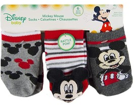 Mickey Mouse-Baby Boys Socks-6 Pack-Rattle Low Cut  image 1