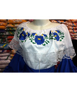 Girls Color Off-Shoulder Ruffle Top W/Floral Embroidery Mexico Folkloric... - $23.00+