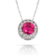 1.90Ct Created Diamond & Ruby Round Halo Charm Pendant 14K W Gold w/ Chain - $69.28+
