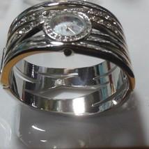 Gruen Ladies Silver-tone Mother-Of-Pearl Rhinestone Bangle Bracelet Watch  - $34.65