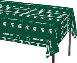 "Creative Converting Michigan State Spartans Plastic Table Cover, 54""x108... - $4.64"