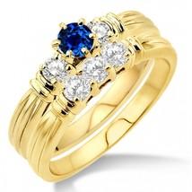1.25 Carat Sapphire & Sim Diamond Three Stone Bridal Set on 14k Yellow Gold Fn  - $99.99