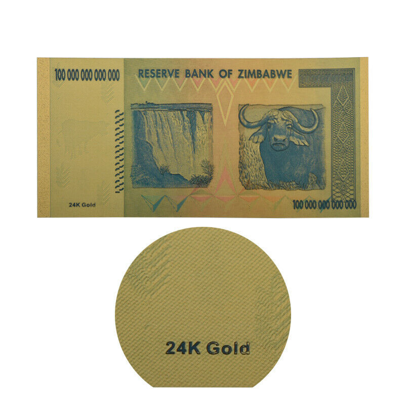 WR 50X Zimbabwe 100 Trillion Dollar Banknote Gold Plated World Money Collection