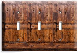 Rustic Wood Ranch Barn Door Light 3 Gang Switch Plate Room Cabin House Art Decor - $16.19