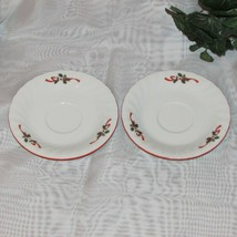 KOPIN CHRISTMAS PLEASURE SAUCERS LOT OF 2 PORCELAIN RED RIM HOLLY no cup... - $4.75