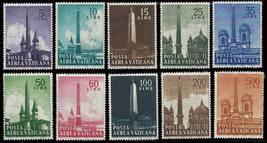 1959 Obelisks Set of 10 Vatican Airmail Stamps Catalog Number C35-44 MNH