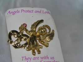 Vintage Goldtone Angel with Pink Rhinestone & YOUNG AT HEART Charm Dangl... - $7.69