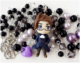 Austria Rosary Necklace, Black and Purple Beaded Chain in Silver - Anime... - $46.00