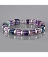 Multi Fluorite & Hematite Gemstone Smooth Beads Stretch Bracelet for Wom... - $26.99