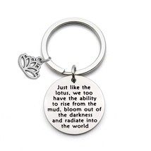 QIIER Lotus Keychain Yoga Karma Inspirational Keychain Yoga Lovers Gift - $27.99