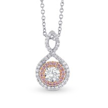 0.67Cts Colorless Diamond Halo Pendant Necklace Set in 18K  White Gold - $4,801.50