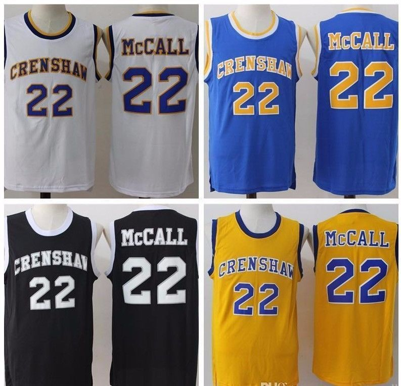 2743f3a8302d S l1600. S l1600. Previous. Quincy McCall 22 Crenshaw High School Love   Basketball  Jersey Yellow Blue Black