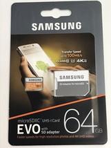 Samsung EVO 64GB microSDXC UHS-1 Card w/ Adapter (4K Ultra, 100MB/s) (MB... - $21.78
