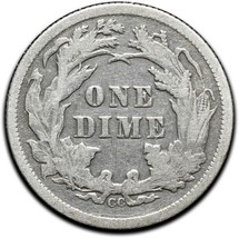 1877CC Silver Seated Dime 10¢ Coin Lot# A 440 image 2
