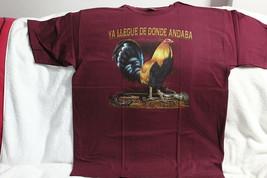 ROOSTER CHICKEN FARM YA LLEGUE DE DONDE ANDABA BURGUNDY T-SHIRT SHIRT - $11.62