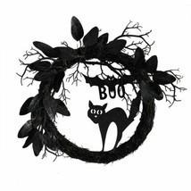 "Durable Multicolor 22"" Halloween Black Cat and Bat Boo Twig Wreath - 22"" - £80.83 GBP"