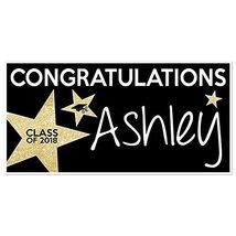 Class of 2018 Graduation Banner Personalized Party Backdrop Gold Glitter... - £16.88 GBP